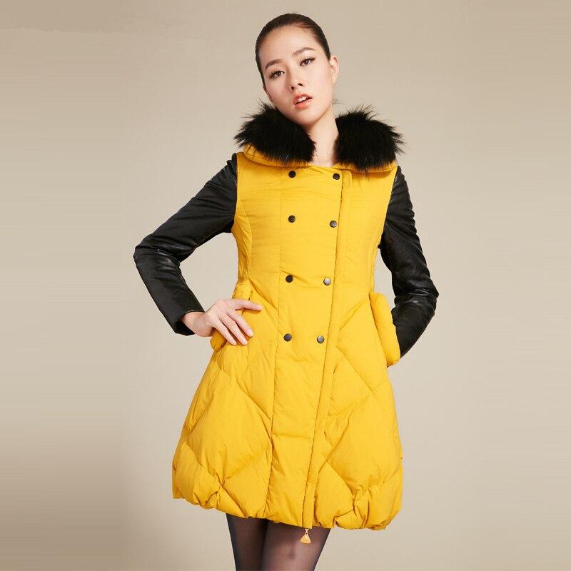 90Blanc Duvet Réel Grand Dames D'hiver Fourrure Black De khaki Parka Veste Femmes Mode Canard Nouveau Z374 yellow Pu Jupe Col Patchwork Survêtement Casual LpGUMqzVS