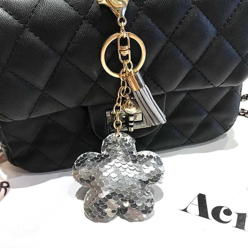 Flor Glitter Lantejoulas de Bling Da Flor Da Ameixa Chave Anéis Chaveiros Keyfob Charme Carro Bolsas Acessórios Bolsa para Mulheres Meninas