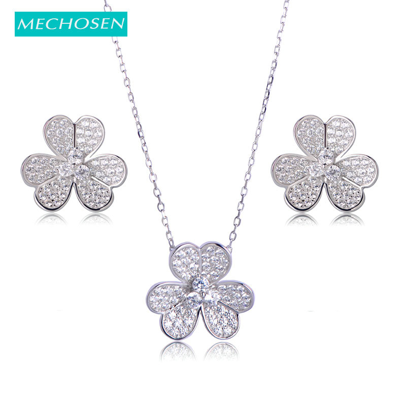 MECHOSEN Fashion Flower 925 Sterling Silver Jewelry Sets Pendant Necklace Earrings Cubic Zirconia Romantic Banquet Accessories