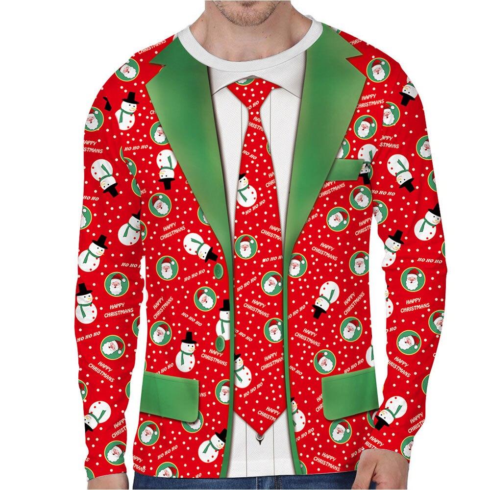 Autumn Funny Bow Tie Cosplay Snowman Christmas Tree Prints Fitness Workout Long Sleeve Man T shirt Women Men T Shirt Tops Tees