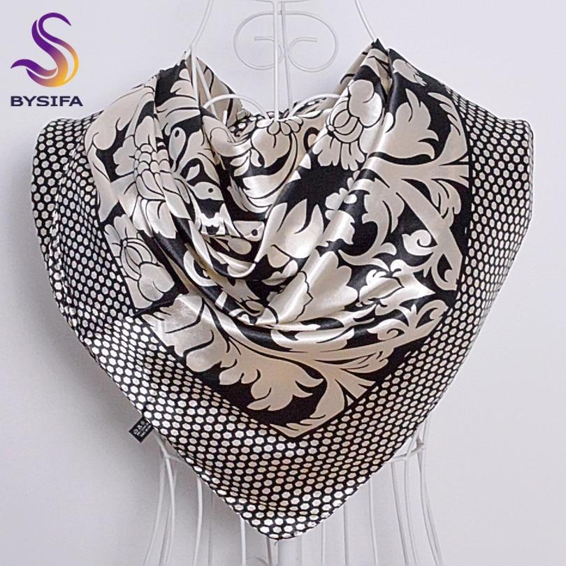 Ladies Square Scarves Printed New Fashion Unisex Apparel Accessories Women Black White Dot Silk Scarf 90*90cm Scarves Wraps