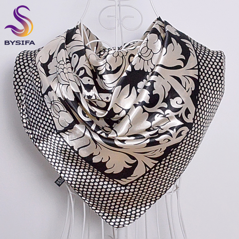Ladies Square   Scarves   Printed New Fashion Unisex Apparel Accessories Women Black White Dot Silk   Scarf   90*90cm   Scarves     Wraps