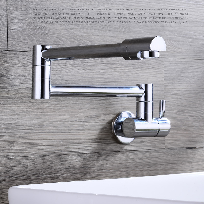 Cold Water Finish Single Handle Folding Kitchen Sink Faucet Wall ...