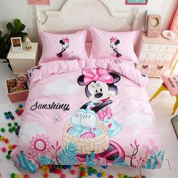 Комплект постельного белья Минни Маус для детей, декор для спальни, хлопок, пододеяльник, простыня для девочек, двухъярусное покрывало, полн