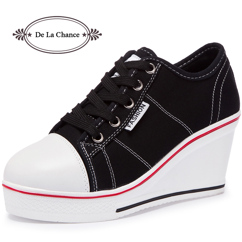 купить De La Chance Women Vulcanize Shoes Platform Breathable Canvas Shoes Woman Wedge Sneakers Casual Fashion Candy Color Students недорого