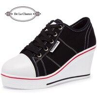 De La Chance Women Vulcanize Shoes Platform Breathable Canvas Shoes Woman Wedge Sneakers Casual Fashion Candy Color Students