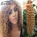 Перуанские волосы блондинка Меда kinky вьющиеся 3 связки kinky прямые волосы #27 remy человеческих волос weave связки ХАННЕ Красочные волос