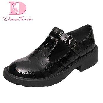 Correa T Mary Janes | T-strap Zapatos De Charol De Vaca Genuino Zapatos Planos Mujer 2019 Primavera Otoño Mary Janos Zapatos Planos Mujer Grande Tamaño 34-42