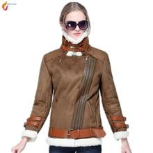 Short paragraph women coat 2017 winter new lambswool suede fabric motorcycle jacket women warm cotton clothing coat G234 JQNZHNL