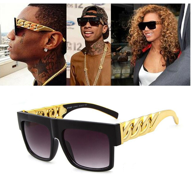 2c9e106aa38c Men Sunglasses Kim Kardashian Retro Vintage Brand Designer Big Sun Glasses  for Women Frame Black Gold