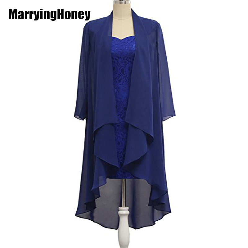 Mousseline de soie dentelle mère de la mariée robes avec veste manches longues robes de soirée genou longueur costume de femmes vestido de madrinha