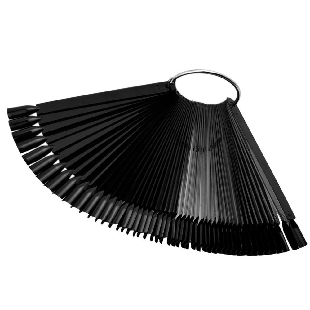 50Pcs Nail Art Display Tips Black Fan Shaped Board False Stick Practice Training Round Hoop Wheel UV Gel Polish Manicure Tools недорго, оригинальная цена