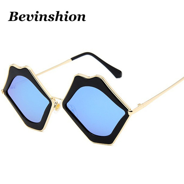 48213023a9 Trend 2018 Lip Shaped Cat Eye Sunglasses Women Pink Blue Mirror Lens Cool  Wild Clout Goggles