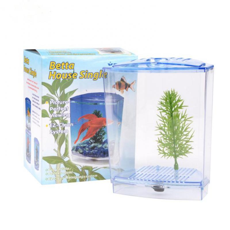 Acrylic aquarium single betta fish bowl fighting fish tank for Betta fish tank size