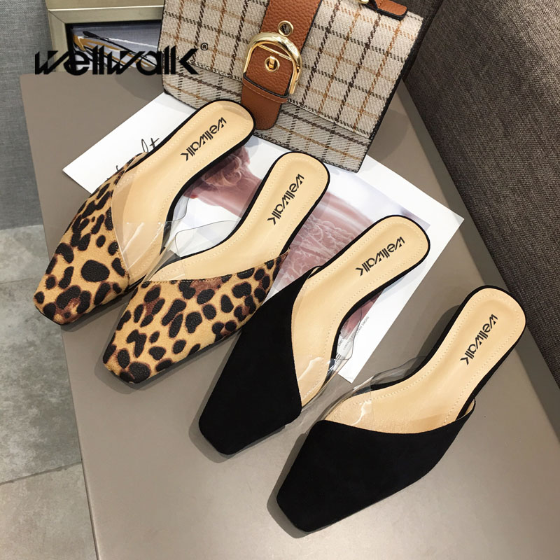 Wellwalk High Slippers Women Leopard Mules Women Heel Slippers Ladies Small Heel Mules Ladies Slides Female Close Toe Sandals slipper