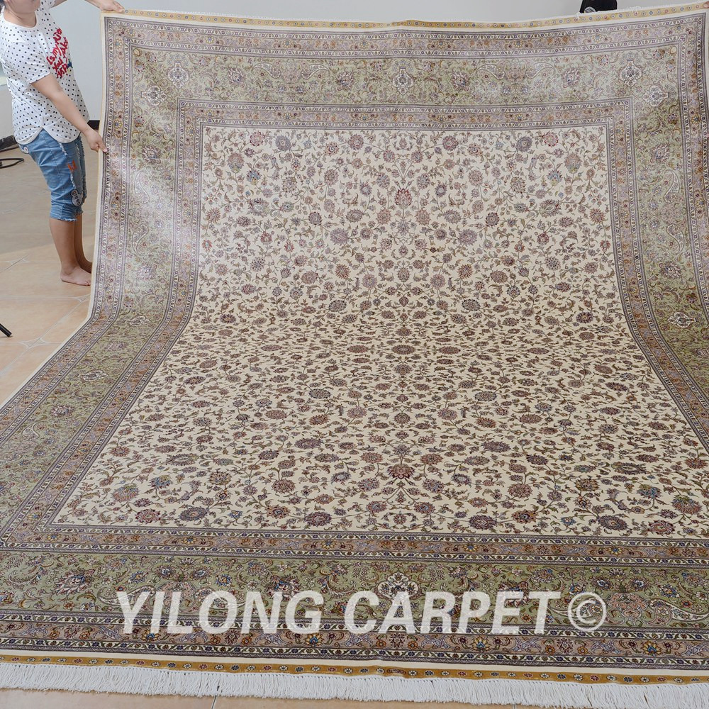 Yilong 9 39 x12 39 traditional persian handmade rug large beige for Carpet for sale