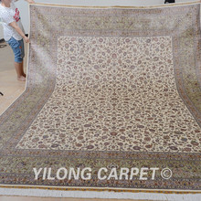 Yilong 9'x12′ Traditional Persian handmade rug large beige vantage persian carpets for sale (0336)