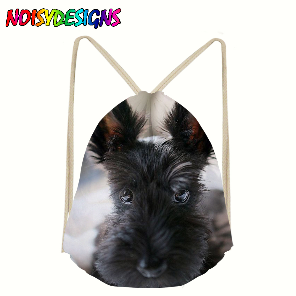 Hot Sale Runner Drawstring Bag Fashion Unisex Animals Scottie Dogs Printing Backpack Rucksack Drawstring Bag Mochila Feminina