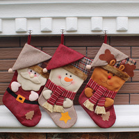 20pcs New Year Christmas Stockings Socks Plaid Santa Claus Candy Gift Bag Xmas Tree Hanging Ornament