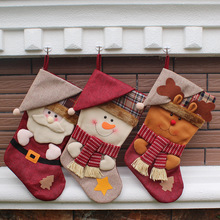 20pcs New Year Christmas Stockings Socks Plaid Santa Claus Candy Gift Bag Xmas Tree Hanging Ornament Decoration WA1407