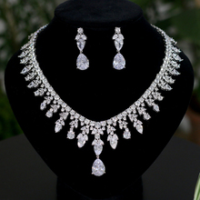 3A Cubic Zirconia Bridal Jewelry Set High Quality Teardrop Shape Silver Jewelry Set
