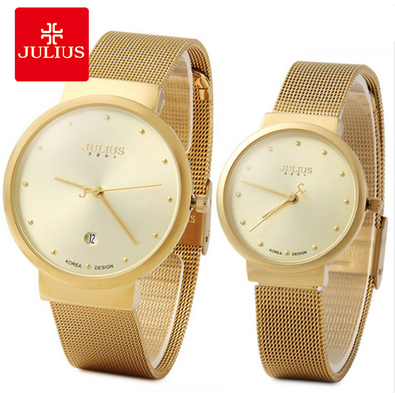 JULIUS Couple Lover Gold Silver Black Mesh Stainless Steel Quartz Analog Waterproof Casual Watch Wristwatch Gift C1 fashion couple s stainless steel analog digital quartz waterproof wrist watch silver 2 pcs