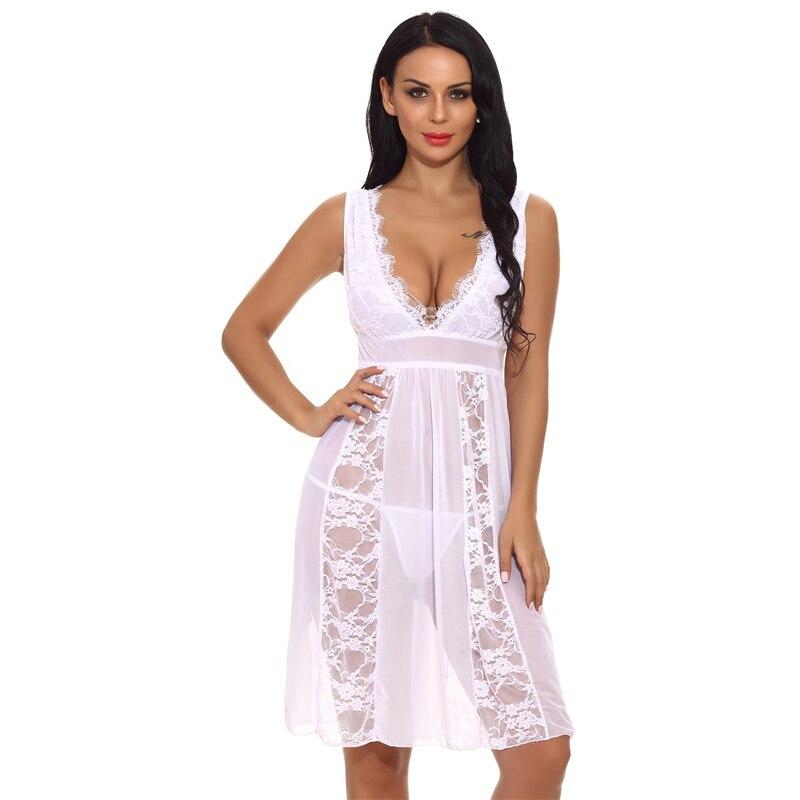 1471ed618 Mulheres Sexy Sleepwear Rendas Camisola Vestido + Conjunto Corda Lingerie  Sexy Casa Vestuário Feminino Camisola Lingerie
