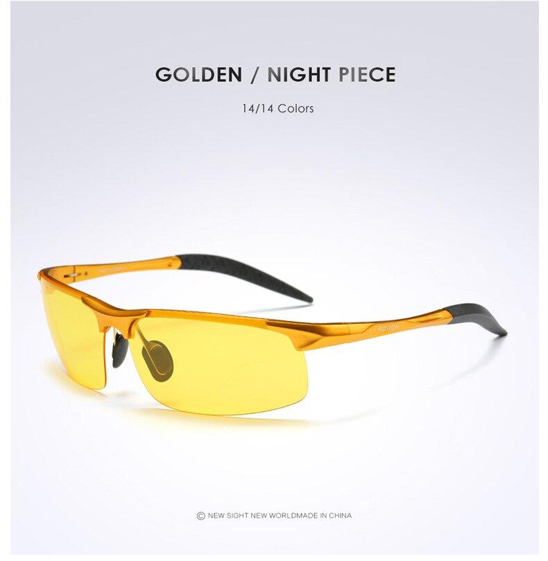 AORON Driving Polaroid Sun Glasses Aluminum Frame Sports Sunglasses Men Polarized Driver Retro UV400 Anti-glare Goggles 13