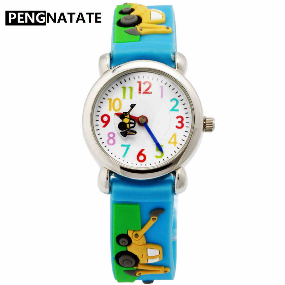 PENGNATATE Children Watches Hot Sale 3D Cartoon Excavator Silicone Bracelet Wristwatch Fashion Student Kids Watch Boys Gifts