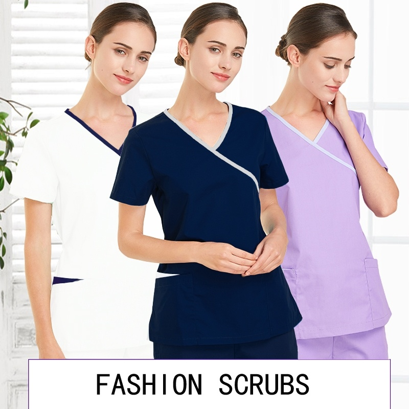 Women Fashion Scrubs Tops V-Neck Short Sleeves Shirt with Two Large Pockets Beauty and Health Workwear SPA Nursing Uniform(China)