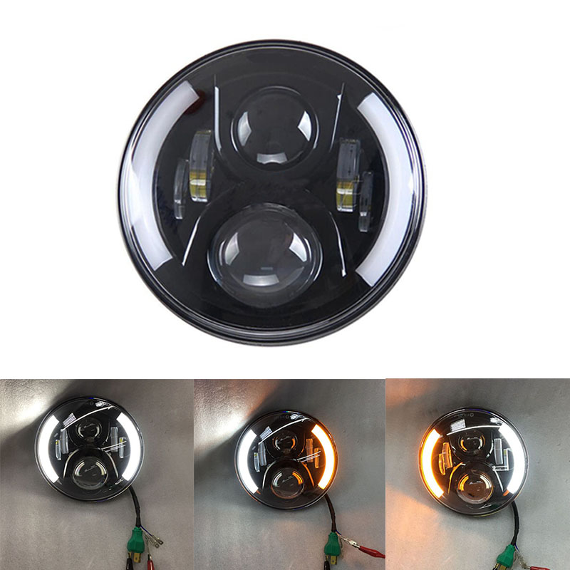 купить Motorcycle accessories harley 7 Inch H4 led daymaker headlight 7'' halo angel eyes DRL Amber turn signal for harley Davidson недорого