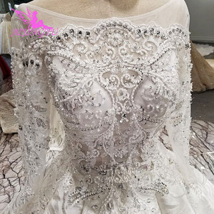 Image 5 - AIJINGYU pakistanlı gelinlik modelleri dikmek kristal boncuklar uygun elbise mağazaları gelinlik dantel