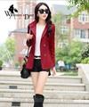 WomensDate 2016 Осень Горячие Продажа Мода Женщин Slim С Коротким Пальто С Длинными рукавами Двубортный Женщин Траншеи Пальто Wine Red