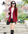 WomensDate 2016 Autumn Hot Sale Fashion Women Slim Short Trench Coat Long-sleeved Double-breasted Women Trench Coat Wine Red