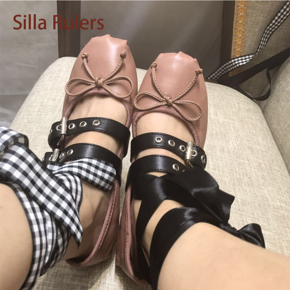 Silla Rulers 100% Real Leather Ballerinas Shoe Belt Buckle Bandage Lace Up Girls Shoes Comfortable Shoe Butterfly Round Toe цена 2017