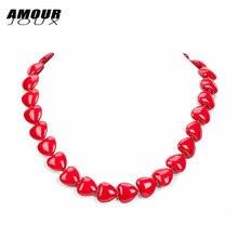 Amourjoux романтическое красное колье в форме сердца с натуральным