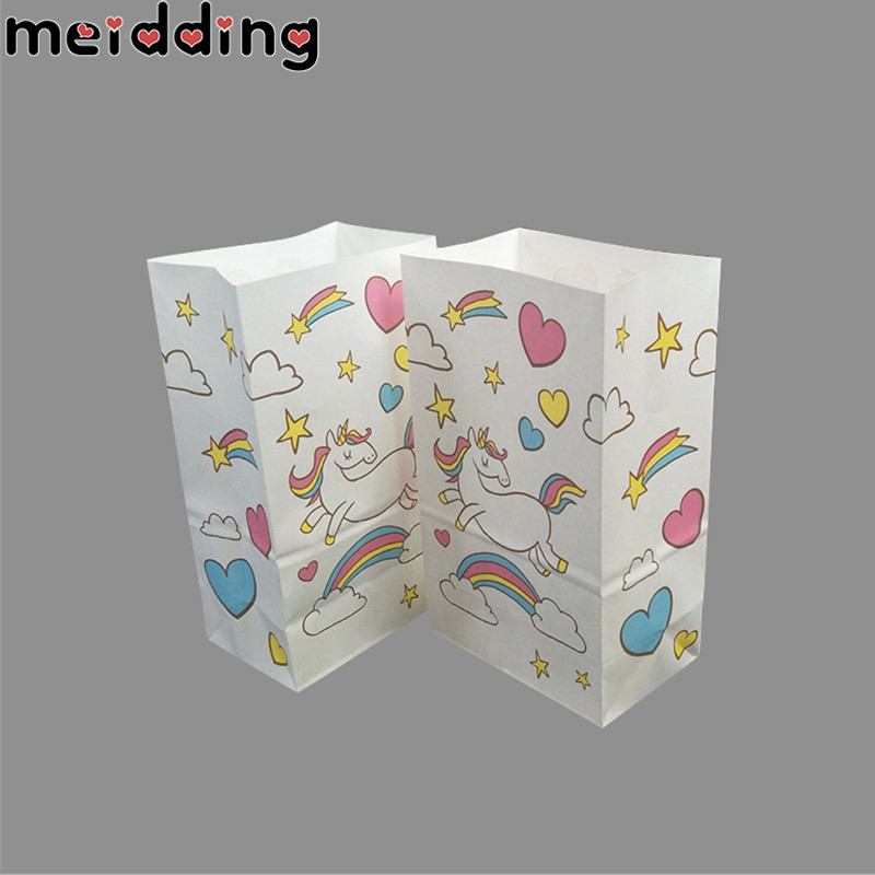 MEIDDING 10Pcs Birthday Party Supplies Unicorn Candy Bags Party Favors For Kids Gifts Box Baby Shower Unicorn Party Cookies Bag