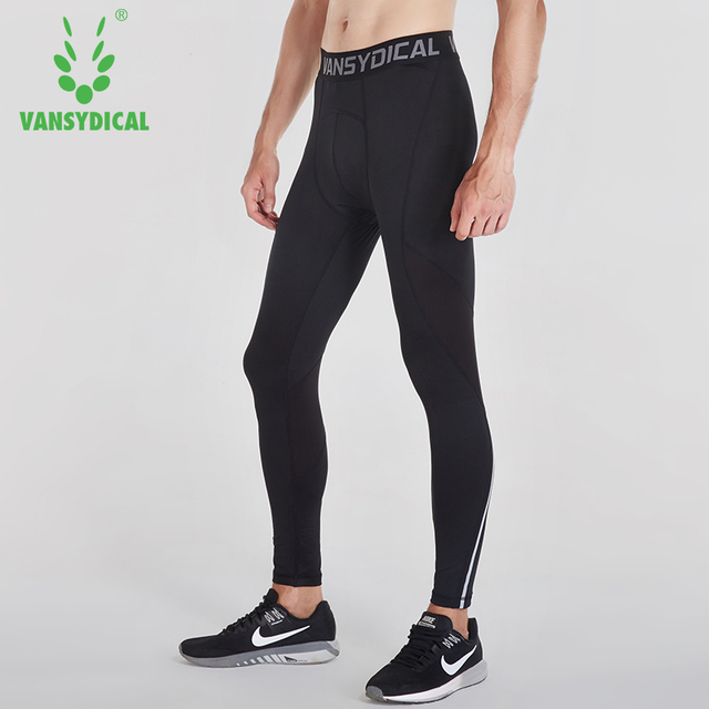 Vansydical Mens Running Tights Quick Dry Basketball Gym Pants Reflective Bodybuilding Jogger Trouser Compression Sports Leggings