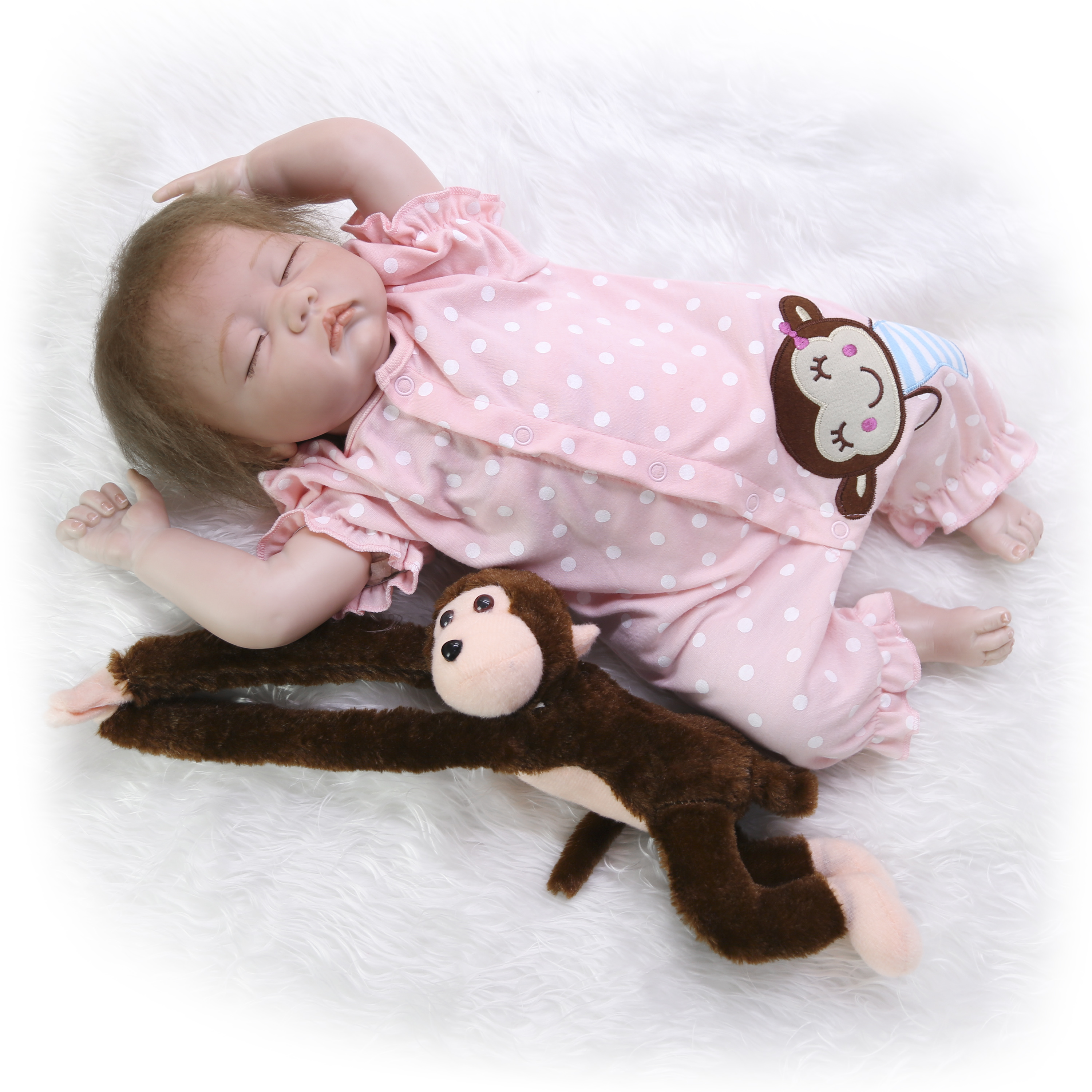 Real Lifelike Reborn Baby Doll 20 Inch Sleeping Princess Girl Babies Silicone Newborn Doll Toy With Curved Mohair Kids Playmate-in Muñecas from Juguetes y pasatiempos    2