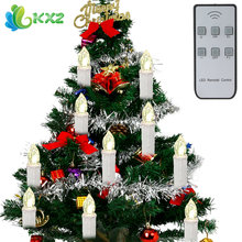 10pcs/set Christmas Tree LED Candles Lights Battery Operated for New Year Christmas Decoration + Wireless Remote Control