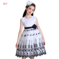 B N Embroidery Girls Princess Dress Elegant Evening Prom Girls Dresses For Party And Wedding Princess