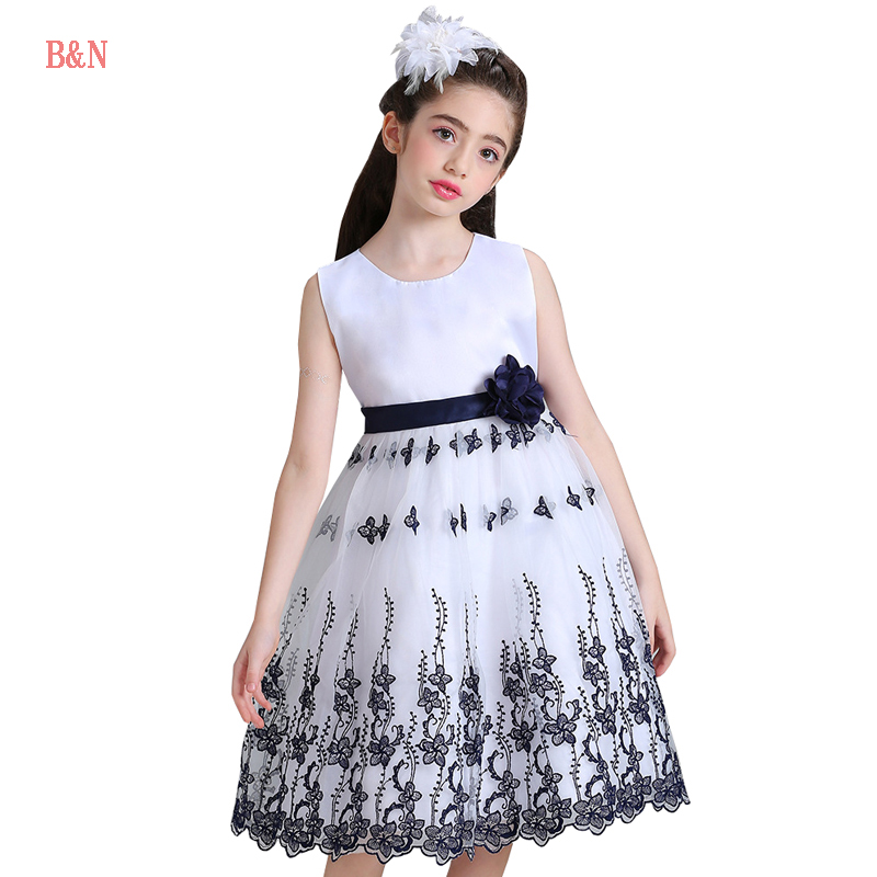 B&N Embroidery Girls Princess Dress Elegant Evening Prom Girls Dresses For Party And Wedding Princess Dress kids party 8 gf go7300 b n a3 gf go7400 b n a3