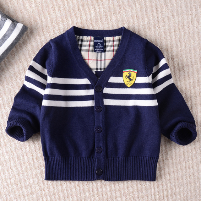 Boys cotton long-sleeved striped cardigan