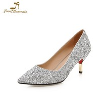 d8df0336c7eb Spring Summer Thin Heel Women Pumps All Match 7cm Middle Heel Wedding Shoes  Glitter Sequined Cloth Bridesmaid Shoes Silver Gold
