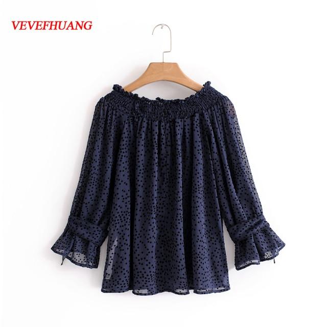 4a897b6ea6 Nueva moda femenina púrpura Dot gasa blusa para las mujeres del hombro  campesino camisas túnica Boho