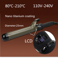 Nano Titanium Professional Electric Hair Curler Roller LCD Ceramic Heat Conductor 30s Quickly Heating Diameter 25mm