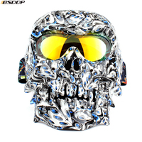 Motorcycle Helmet Mask Glasses Vintage Detachable Modular Skull Mask Motorcycle Goggles Mouth Filter Moto Motocross Glasses
