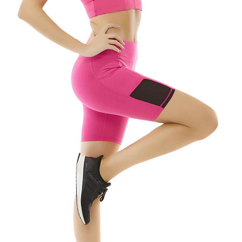 Yoga Sport Short Women Side Pockets Quick-drying Breathable Tight-fitting Running Fitness Shorts