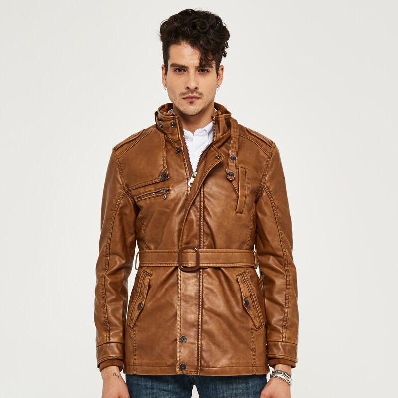 HEE GRAND cuir synthétique polyuréthane pour hommes veste moyen-Long Style nouveauté mode Faux cuir décontracté moto Stand mode manteau MWP218 - 4