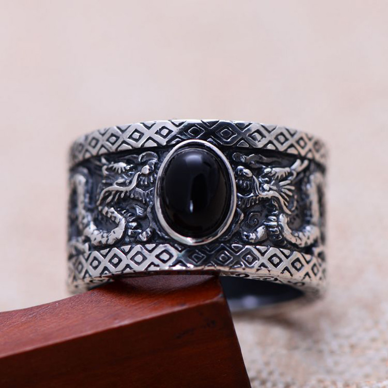 Real Genuine 925 Sterling Silver Jewelry Mens Ring Two Dragons Playing With A Ball Black Onxy
